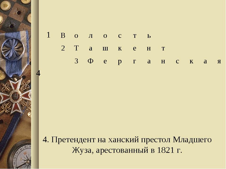 4. Претендент на ханский престол Младшего Жуза, арестованный в 1821 г. 1Во...