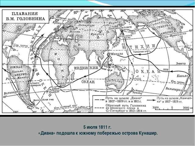 5 июля 1811 г. «Диана» подошла к южному побережью острова Кунашир.