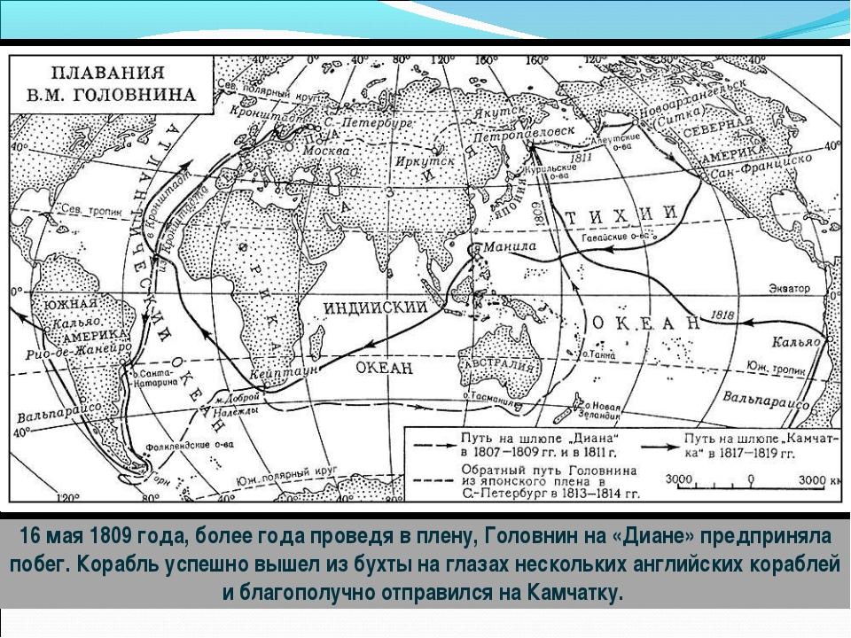 16 мая 1809 года, более года проведя в плену, Головнин на «Диане» предприняла...