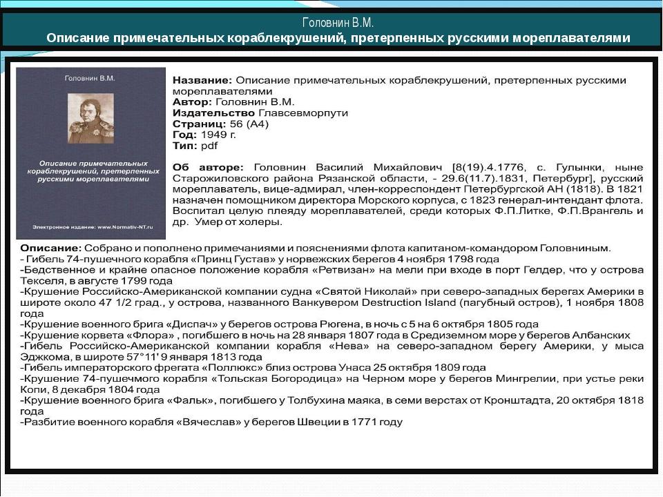 Головнин В.М. Описание примечательных кораблекрушений, претерпенных русскими...