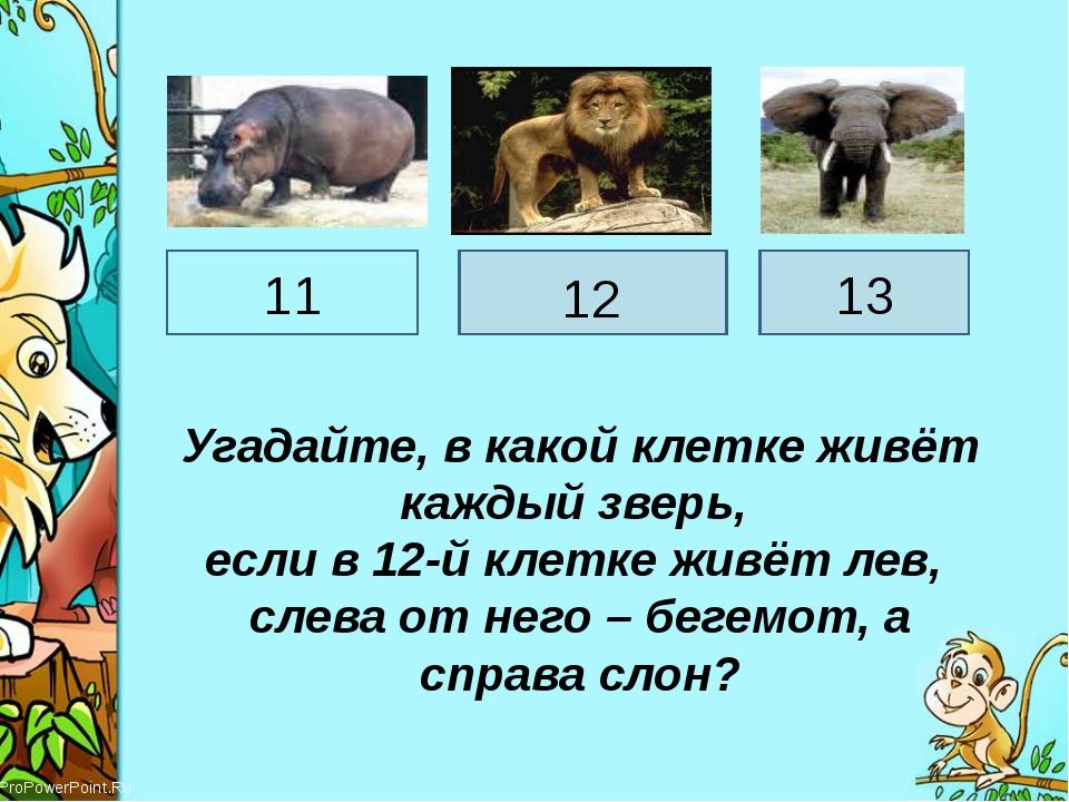 Угадайте, в какой клетке живёт каждый зверь, если в 12-й клетке живёт лев, сл...