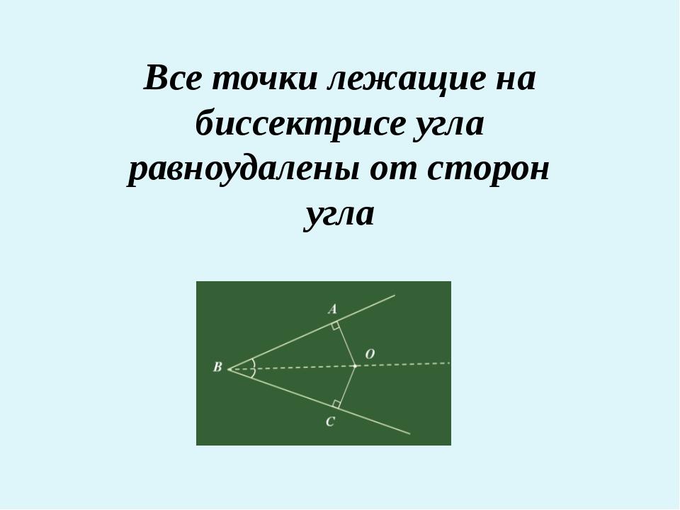 Все точки лежащие на биссектрисе угла равноудалены от сторон угла