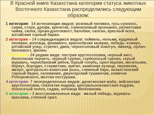В Красной книге Казахстана категории статуса животных Восточного Казахстана р...