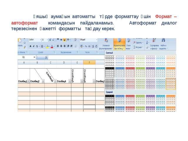 Ұяшық аумағын автоматты түрде форматтау үшін Формат – автоформат командасын...