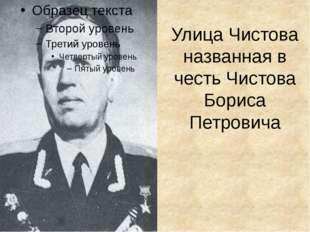 Улица Чистова названная в честь Чистова Бориса Петровича