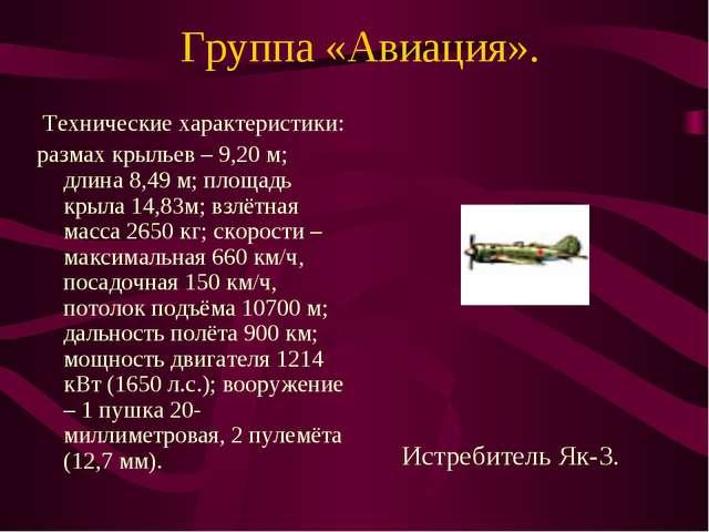Группа «Авиация». Технические характеристики: размах крыльев – 9,20 м; длина...