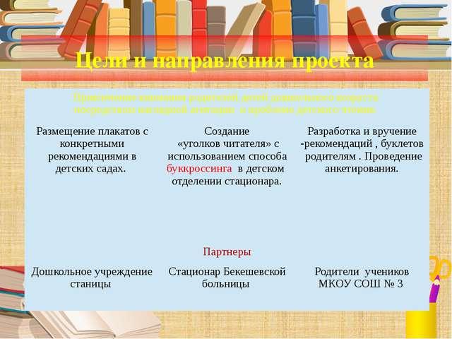 Цели и направления проекта Привлечение внимания родителей детей дошкольного в...