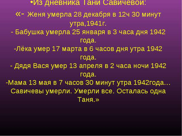 Из дневника Тани Савичевой: «- Женя умерла 28 декабря в 12ч 30 минут утра,194...