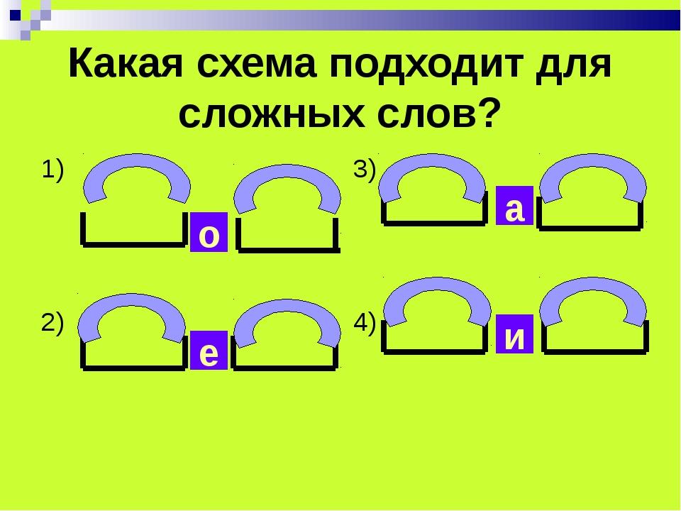 Какая схема подходит для сложных слов? 1) 2) 3) 4) о е и а