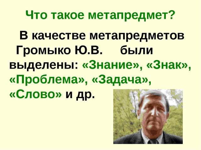 Что такое метапредмет? В качестве метапредметов Громыко Ю.В. были выделены: «...