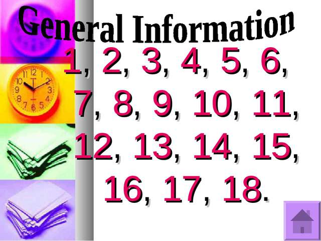 1, 2, 3, 4, 5, 6, 7, 8, 9, 10, 11, 12, 13, 14, 15, 16, 17, 18.