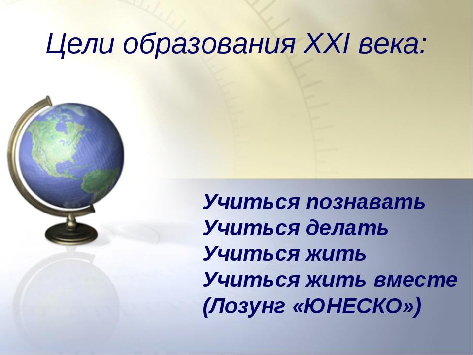 Цели образования XXI века: Учиться познавать Учиться делать Учиться жить Учит...