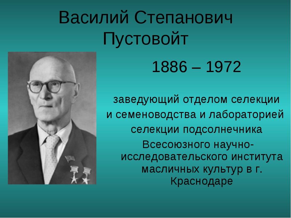 Василий Степанович Пустовойт 1886 – 1972 заведующий отделом селекции и семен...