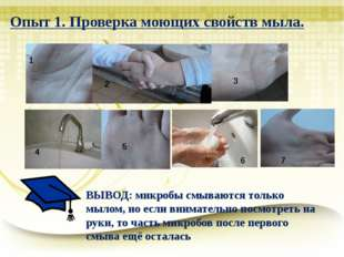 Опыт 1. Проверка моющих свойств мыла. 1 2 3 4 5 6 6 7 ВЫВОД: микробы смываютс