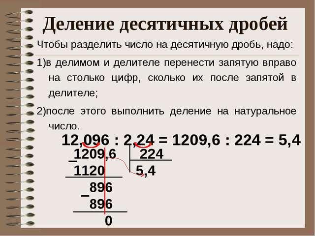 Деление десятичных дробей 12,096 : 2,24 = 1209,6 : 224 = 5,4 1209,6 224 1120...