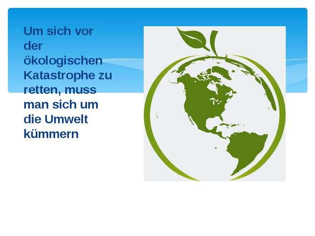 Um sich vor der ökologischen Katastrophe zu retten, muss man sich um die Umwe...