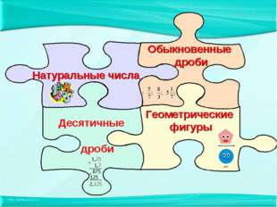 Натуральные числа Десятичные дроби Обыкновенные дроби Геометрические фигуры