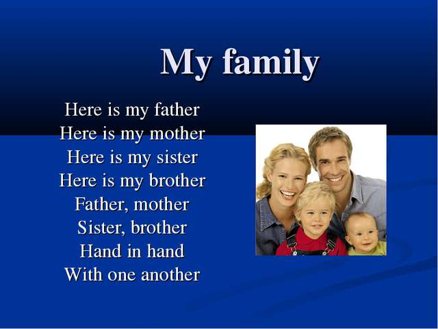 My family Here is my father Here is my mother Here is my sister Here is my b...