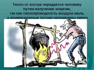Тепло от костра передается человеку путем излучения энергии, так как теплопр