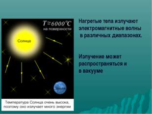 Нагретые тела излучают электромагнитные волны в различных диапазонах. Излучен