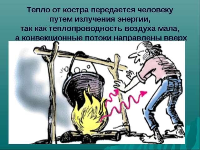 Тепло от костра передается человеку путем излучения энергии, так как теплопр...