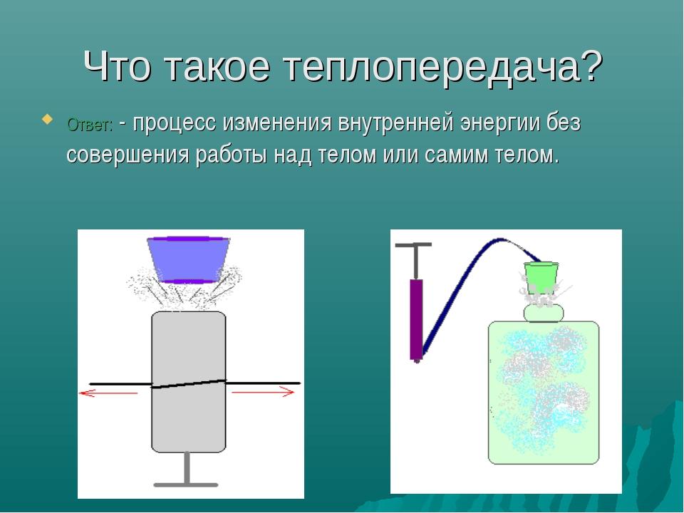 Что такое теплопередача? Ответ: - процесс изменения внутренней энергии без со...