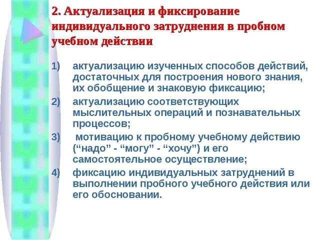 2. Актуализация и фиксирование индивидуального затруднения в пробном учебном...