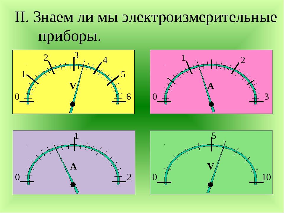 II. Знаем ли мы электроизмерительные приборы. 0 1 2 3 4 5 6 V 0 1 2 А 0 1 2 3...