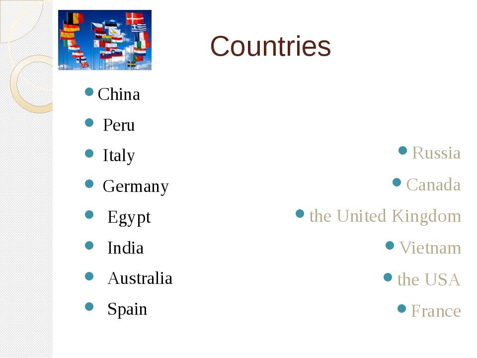 Countries China Peru Italy Germany Egypt India Australia Spain Russia Canada...