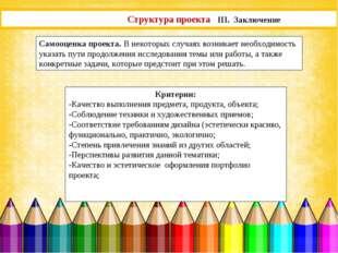Структура проекта III. Заключение Самооценка проекта. В некоторых случаях воз
