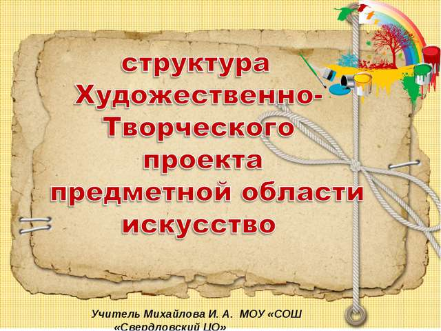 Учитель Михайлова И. А. МОУ «СОШ «Свердловский ЦО»