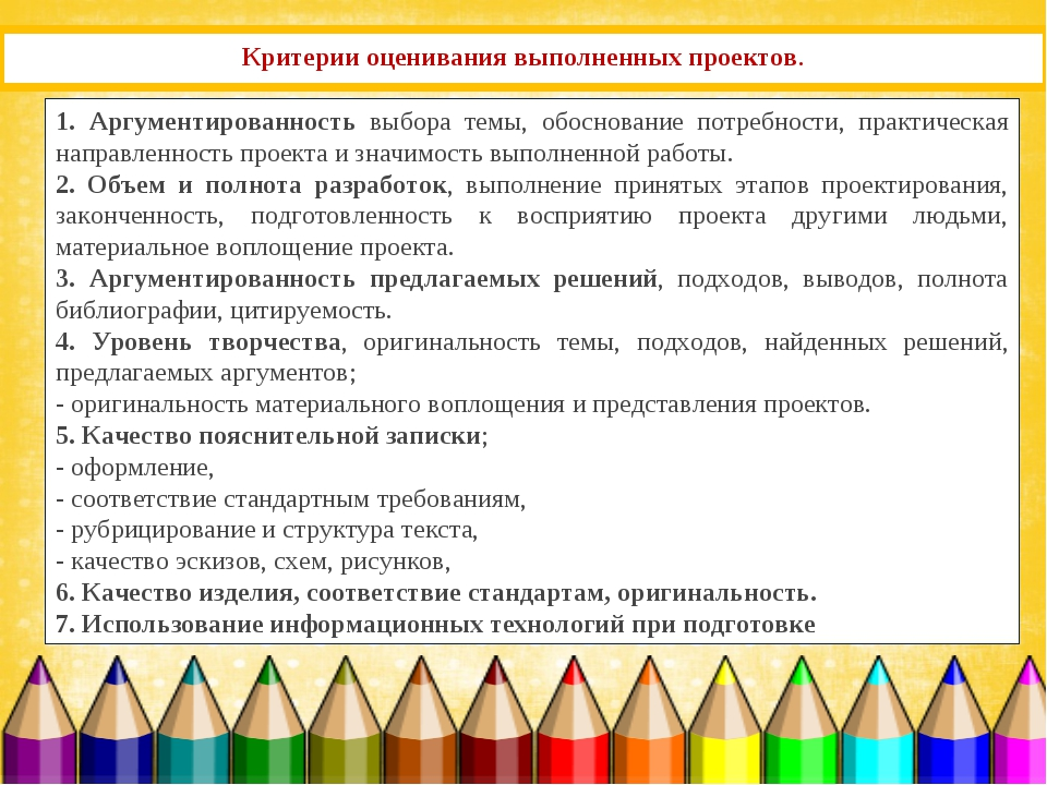 Критерии оценивания выполненных проектов. 1. Аргументированность выбора темы,...