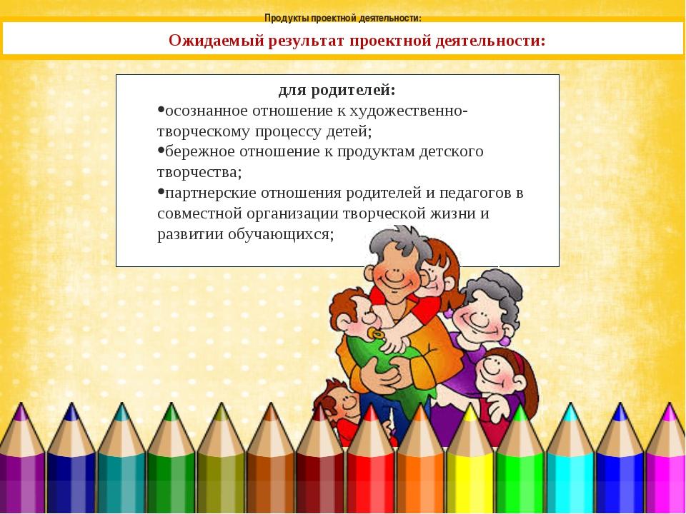 Ожидаемый результат проектной деятельности: для родителей: осознанное отношен...