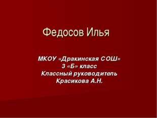 Федосов Илья МКОУ «Дракинская СОШ» 3 «Б» класс Классный руководитель Красиков