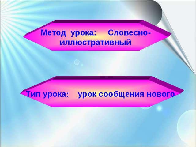 Метод урока: Словесно- иллюстративный Тип урока: урок сообщения нового