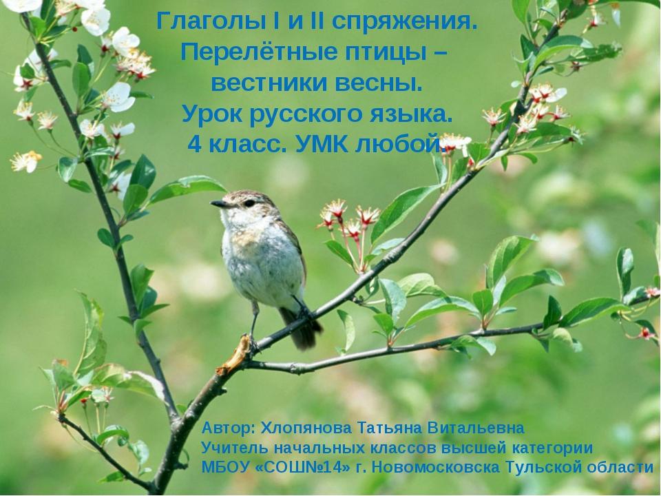 Глаголы I и II спряжения. Перелётные птицы – вестники весны. Урок русского яз...