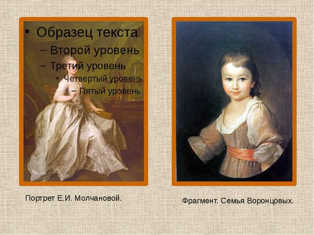 Портрет Е.И. Молчановой. Фрагмент. Семья Воронцовых.