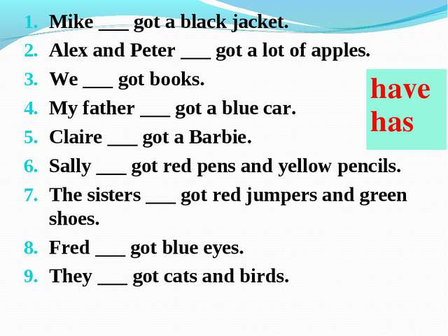 Mike ___ got a black jacket. Alex and Peter ___ got a lot of apples. We ___ g...