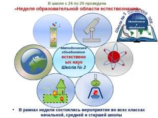 Методическое объединение естественных наук Школа № 2 В школе с 24 по 29 прове
