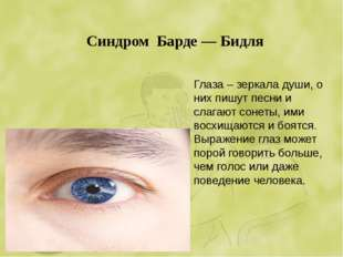 Синдром Барде — Бидля Глаза – зеркала души, о них пишут песни и слагают сонет