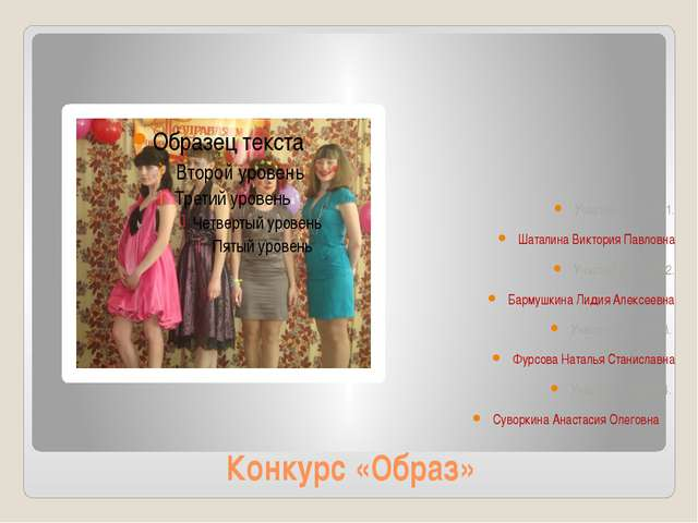 Конкурс «Образ» Участница под №1. Шаталина Виктория Павловна Участница под №2...