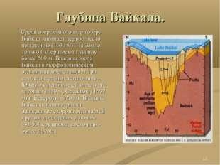 * Глубина Байкала. Среди озер земного шара озеро Байкал занимает первое место