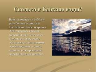 * Сколько в Байкале воды? Байкал вмещает в себя в 4 раза больше воды, чем Бал