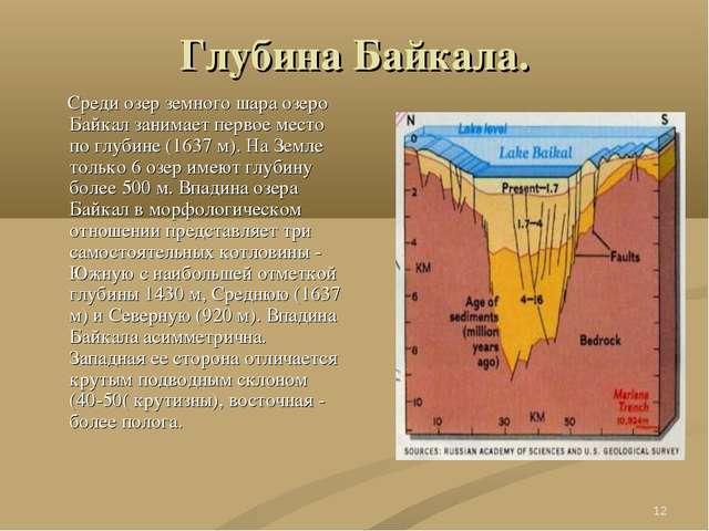 * Глубина Байкала. Среди озер земного шара озеро Байкал занимает первое место...