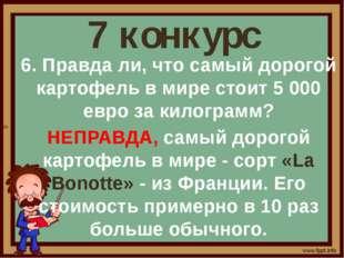 7 конкурс 6. Правда ли, что самый дорогой картофель в мире стоит 5 000 евро з