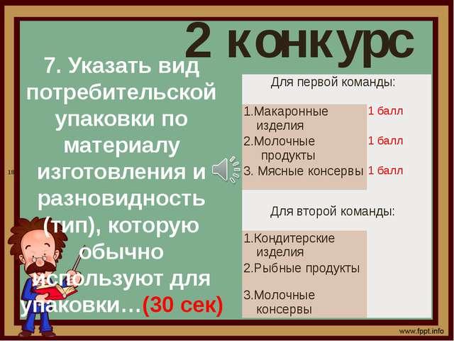 2 конкурс 7. Указать вид потребительской упаковки по материалу изготовления...