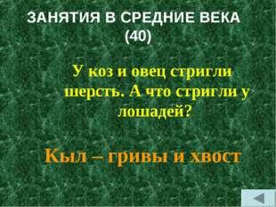 ЗАНЯТИЯ В СРЕДНИЕ ВЕКА (40) У коз и овец стригли шерсть. А что стригли у лоша
