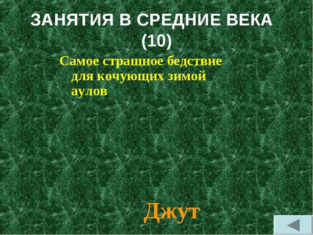 ЗАНЯТИЯ В СРЕДНИЕ ВЕКА (10) Самое страшное бедствие для кочующих зимой аулов...