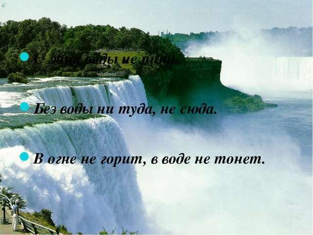 С лица воды не пить. Без воды ни туда, не сюда. В огне не горит, в воде не то...