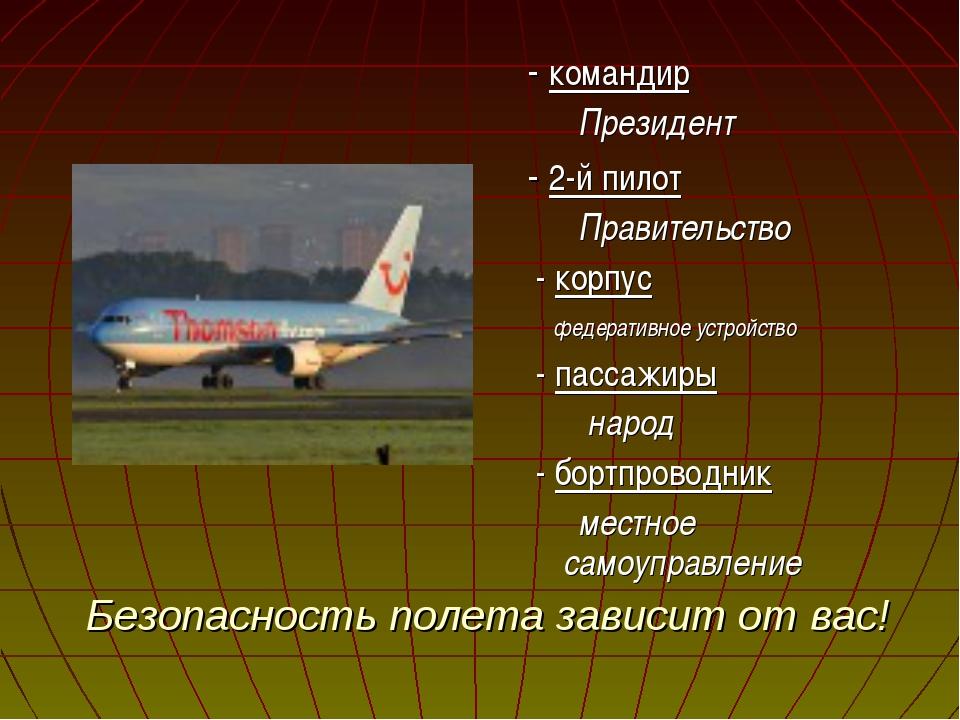 Безопасность полета зависит от вас! - командир Президент - 2-й пилот Правител...